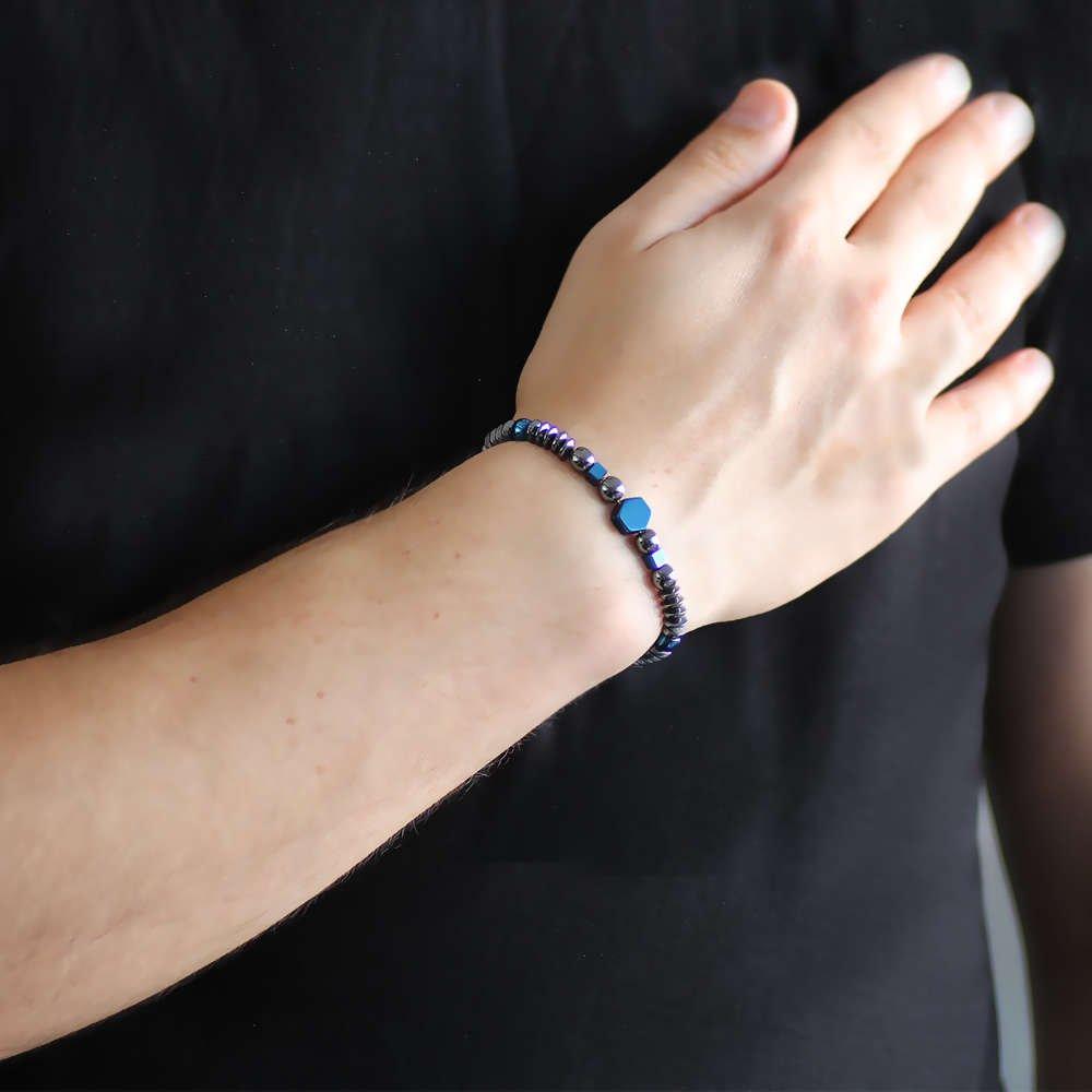 Akordiyon-Küre Tasarım Gri-Mavi Hematit Doğaltaş Bileklik