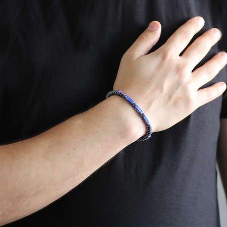Akordiyon-Prizma Tasarım Gri-Mavi Hematit Doğaltaş Bileklik - Thumbnail