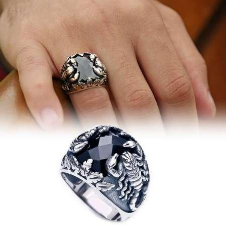 Akrep Motifli Siyah Zirkon Taşlı 925 Ayar Gümüş Erkek Yüzük - Thumbnail