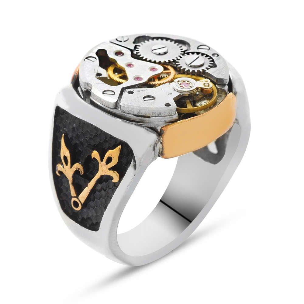 Akrep Yelkovan İşlemeli Saat Tasarım 925 Ayar Gümüş Erkek Yüzük