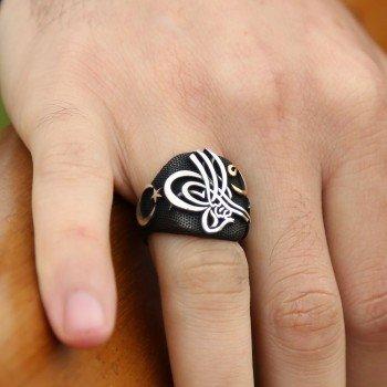 Alperen Yüzüğü-Gümüş Ayyıldız Tuğra Vav Yüzük - Thumbnail
