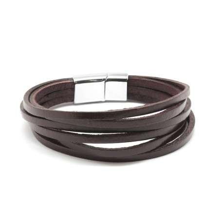 Altı Sıra Kahverengi Deri-Çelik Kombinli Erkek Bileklik - Thumbnail