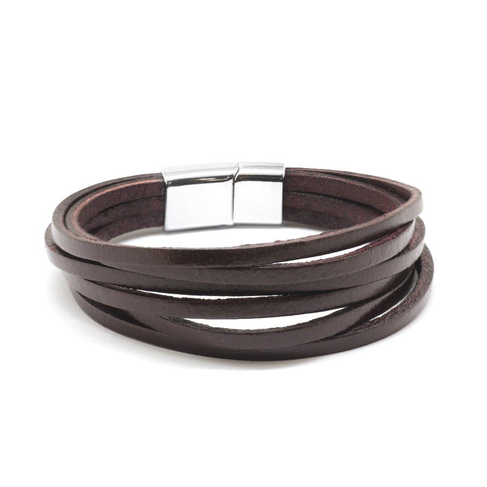 Altı Sıra Kahverengi Deri-Çelik Kombinli Erkek Bileklik