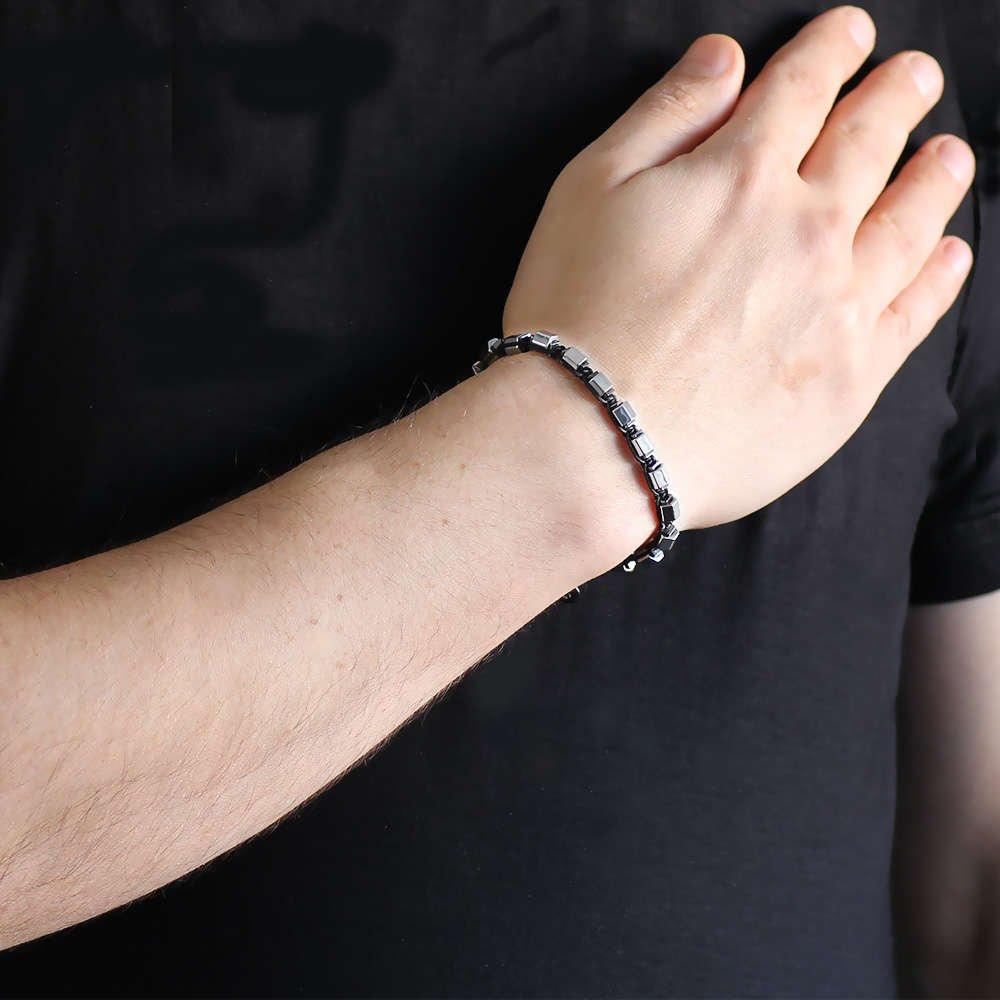 Altıgen Tasarım Makrome Örgülü Silver-Siyah Hematit Doğaltaş Bileklik