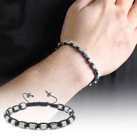 Altıgen Tasarım Makrome Örgülü Silver-Siyah Hematit Doğaltaş Bileklik - Thumbnail