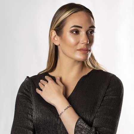 Altıgen Tasarım Multicolor Zirkon Taşlı Tam Tur 925 Ayar Gümüş Kadın Bileklik - Thumbnail