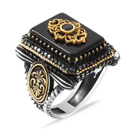 Anadolu Deseni Figürlü Oniks Taşlı 925 Ayar Gümüş Vezir-i Azam Yüzüğü - Thumbnail