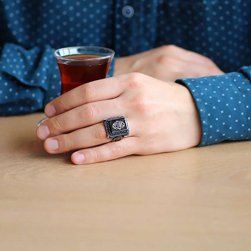 Anadolu Deseni Figürlü Oniks Taşlı 925 Ayar Gümüş Vezir-i Azam Yüzüğü