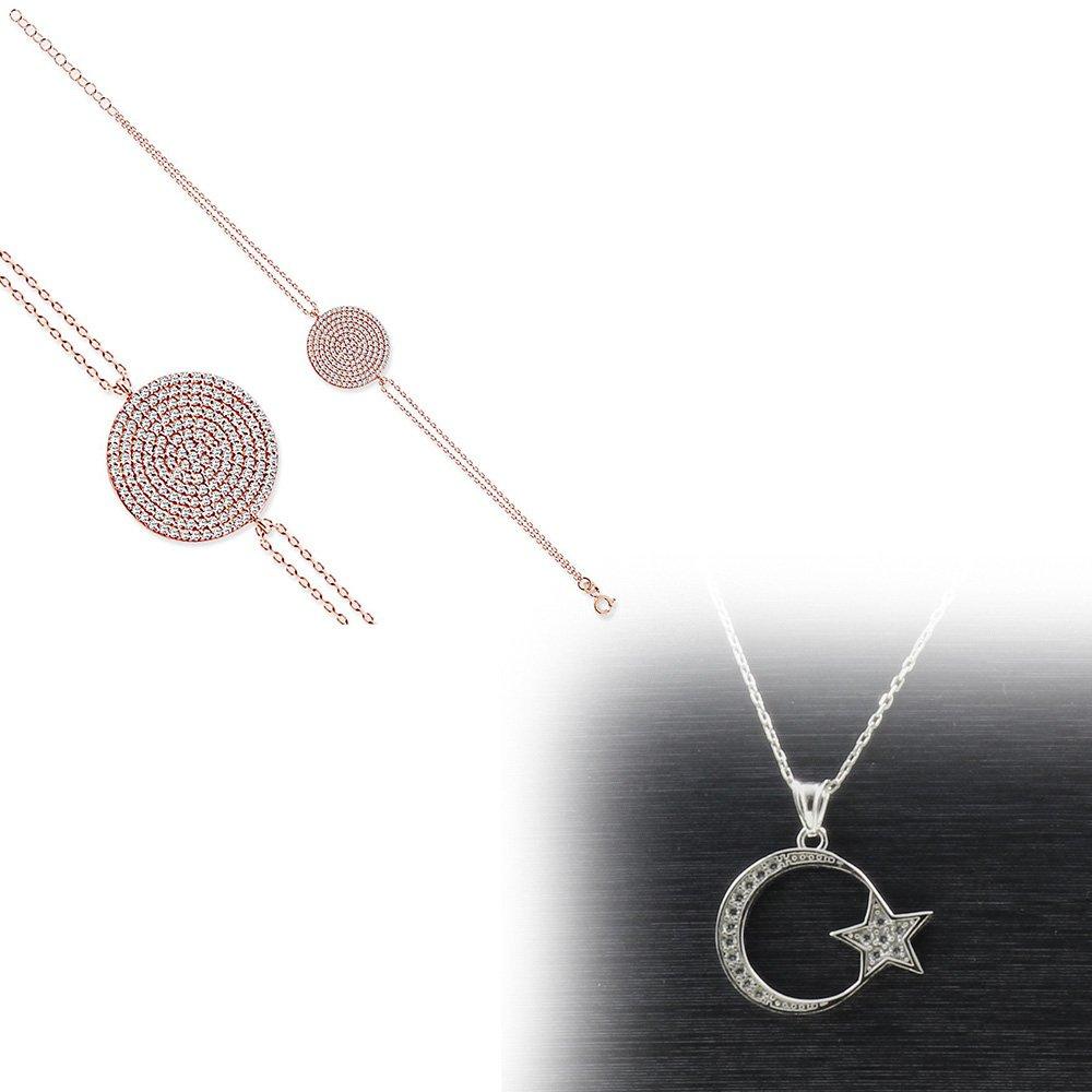 925 Ayar Gümüş Bileklik - Kolye İkili Set (M-9)