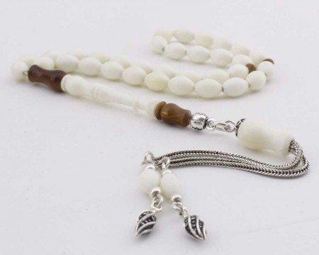 Arpa Kesim Kuka Süslemeli Gümüş Püsküllü Deve Kemiği Tesbih - Thumbnail