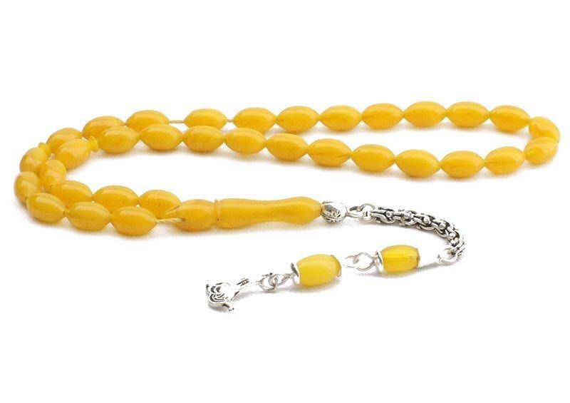 Arpa Kesim Sarı Renk Sıkma Kehribar Tesbih (Özel İşçilik)