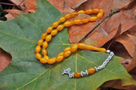 Arpa Kesim Sarı Renk Sıkma Kehribar Tesbih (Özel İşçilik) - Thumbnail
