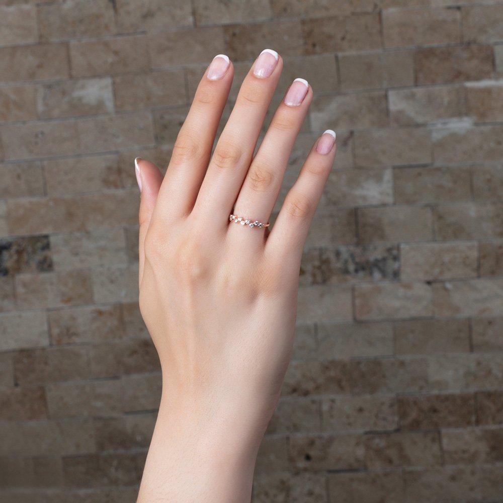 Asimetrik Zirkon Taşlı Roz Renk 925 Ayar Gümüş Bayan Yüzük