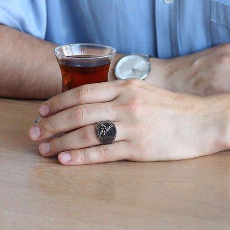 Atatürk İmzalı Ayyıldızlı 925 Ayar Gümüş Erkek Yüzük - Thumbnail