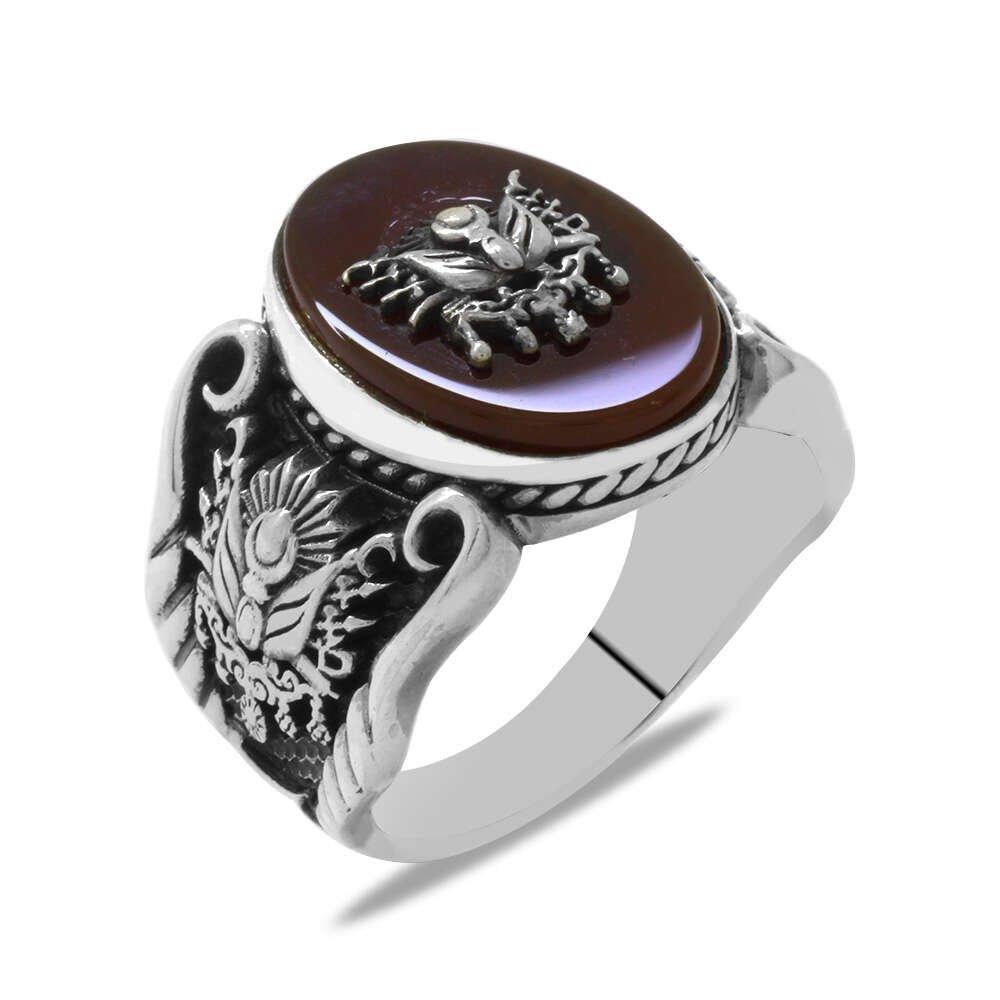 Avangarde Tasarım Arma Süslemeli Akik Taşlı 925 Ayar Gümüş Erkek Yüzük