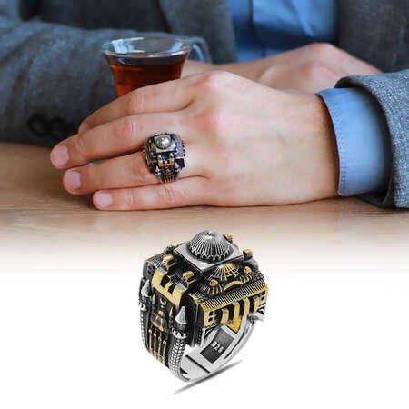 Ayasofya-i Kebir Camii Tasarımlı 925 Ayar Gümüş Erkek Yüzük - Thumbnail
