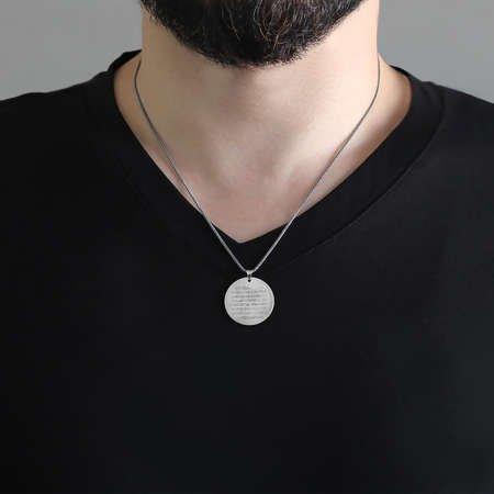 Ayetel Kursi Yazılı 925 Ayar Gümüş Kolye - Thumbnail