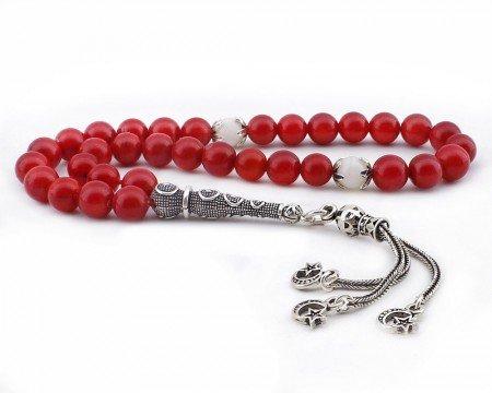 925 Ayar Gümüş Üç Ayyıldız Püsküllü Küre Kesim Kırmızı Mercan Tesbih - Thumbnail