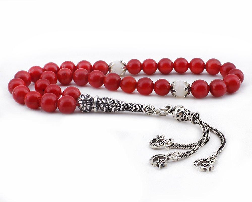 925 Ayar Gümüş Üç Ayyıldız Püsküllü Küre Kesim Kırmızı Mercan Tesbih