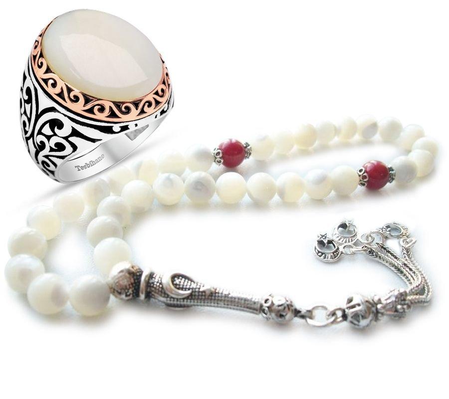 Ayyıldız Gümüşlü Sedef Mercan Tesbih ve Gümüş Sedef Taşlı Yüzük Kombini