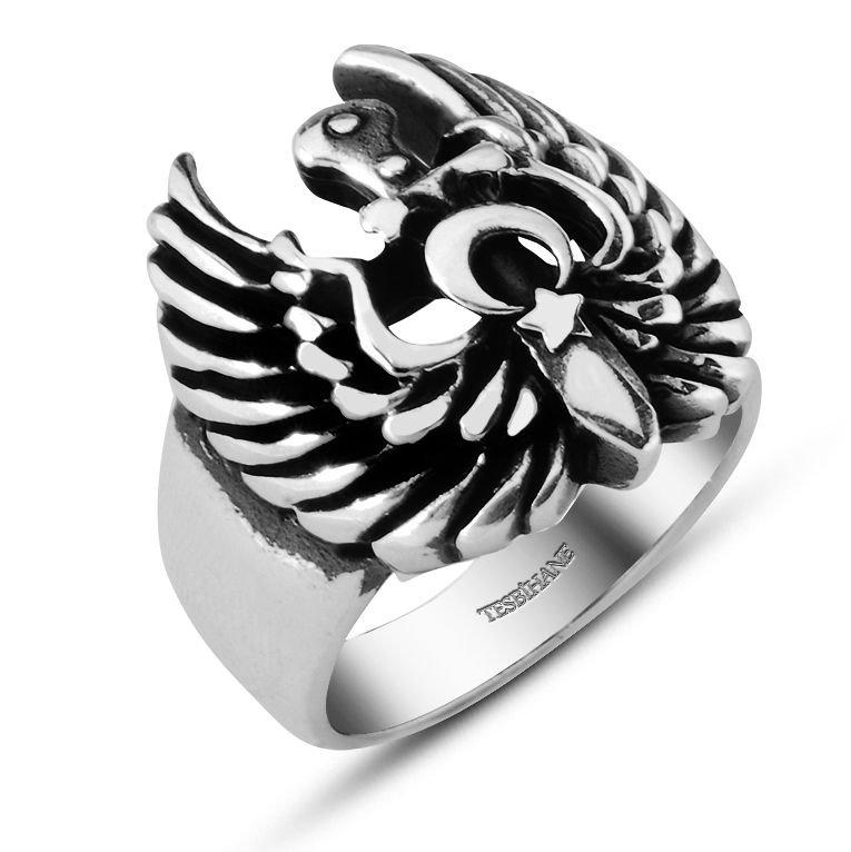 Ayyıldız Kartallı 925 Ayar Gümüş Yüzük