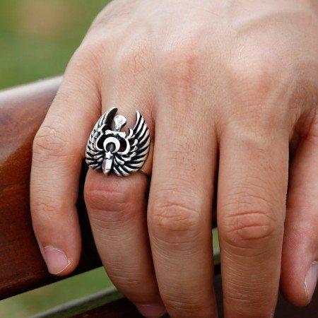 Ayyıldız Kartallı 925 Ayar Gümüş Yüzük - Thumbnail