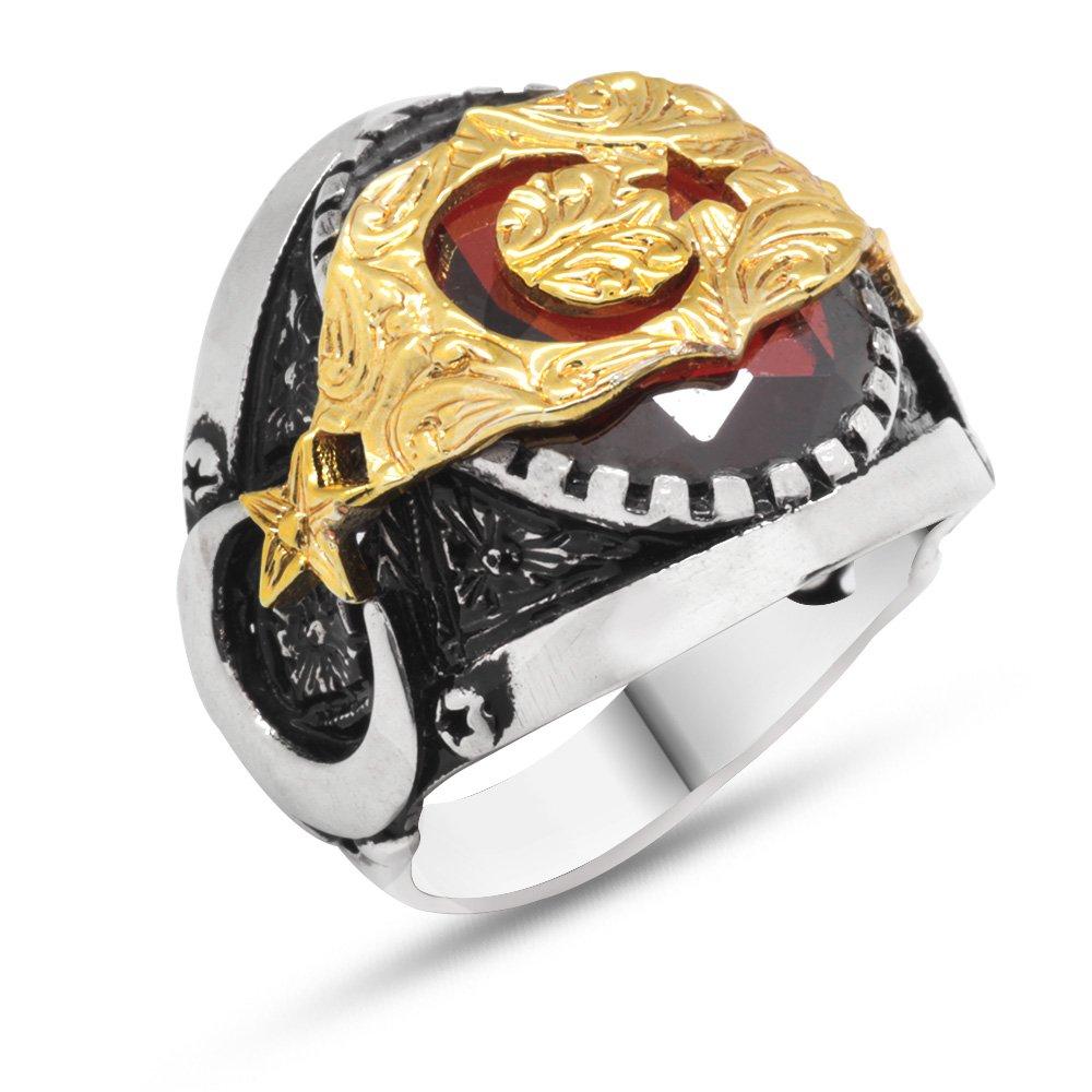 Ayyıldız Motifli Kırmızı Zirkon Taşlı 925 Ayar Gümüş Erkek Yüzük