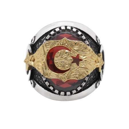 Ayyıldız Motifli Kırmızı Zirkon Taşlı 925 Ayar Gümüş Erkek Yüzük - Thumbnail