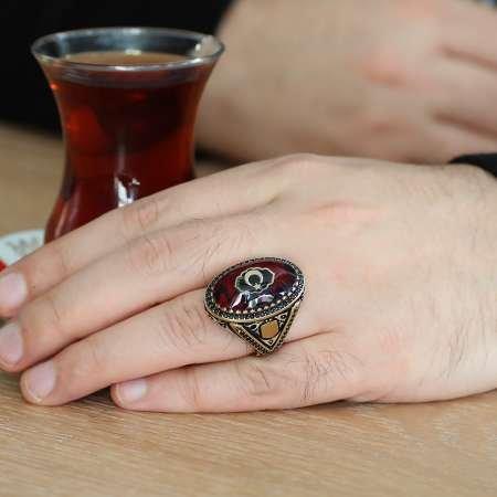 Ayyıldız Motifli Sıkma Kehribar Taşlı 925 Ayar Gümüş Erkek Yüzük (M-1) - Thumbnail