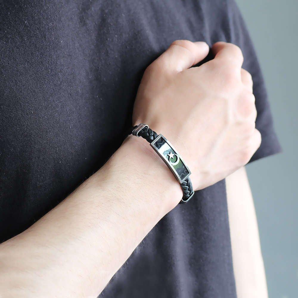 Ayyıldız Tasarım Siyah Deri-Çelik Kombinli Erkek Bileklik