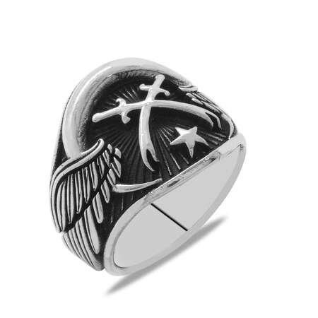 Ayyıldız Temalı Zülfikar Kılıcı Süslemeli 925 Ayar Gümüş Erkek Yüzük - Thumbnail