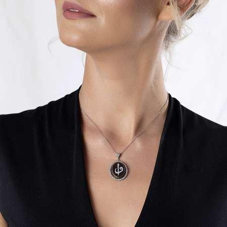 Kahverengi Bağa-Sedef Taşlı Elif Vav 925 Ayar Gümüş Bayan Kolye - Thumbnail
