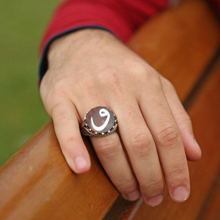 Vav Motifli Bağa 925 Ayar Gümüş Erkek Yüzük - Thumbnail
