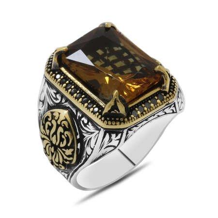 Baget Kesim Zultanit Taşlı Yanları Gotik Süslemeli 925 Ayar Gümüş Erkek Yüzük - Thumbnail