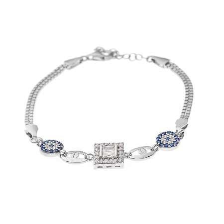 Baget Taşlı Mavi Zirkon Taş Detaylı Yarım Tur 925 Ayar Gümüş Kadın Bileklik - Thumbnail