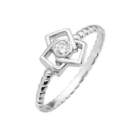 Bakla Tasarım 925 Ayar Gümüş Bayan Tektaş Yüzük - Thumbnail