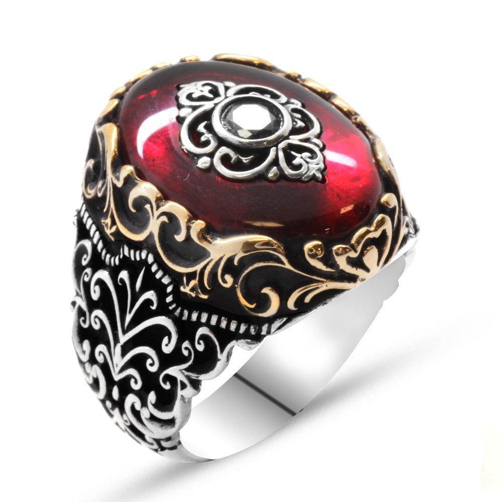 Baklava Desen Motifli Kırmızı Sıkma Kehribar Taşlı 925 Ayar Gümüş Yüzük