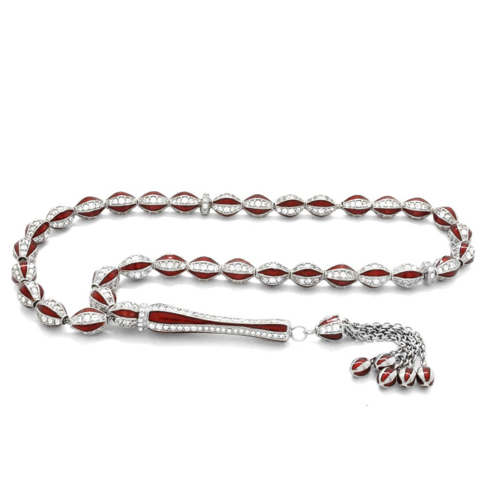 Baklava Deseni Tasarım Zirkon Taşlı Kırmızı Mineli Arpa Kesim 925 Ayar Gümüş Tesbih