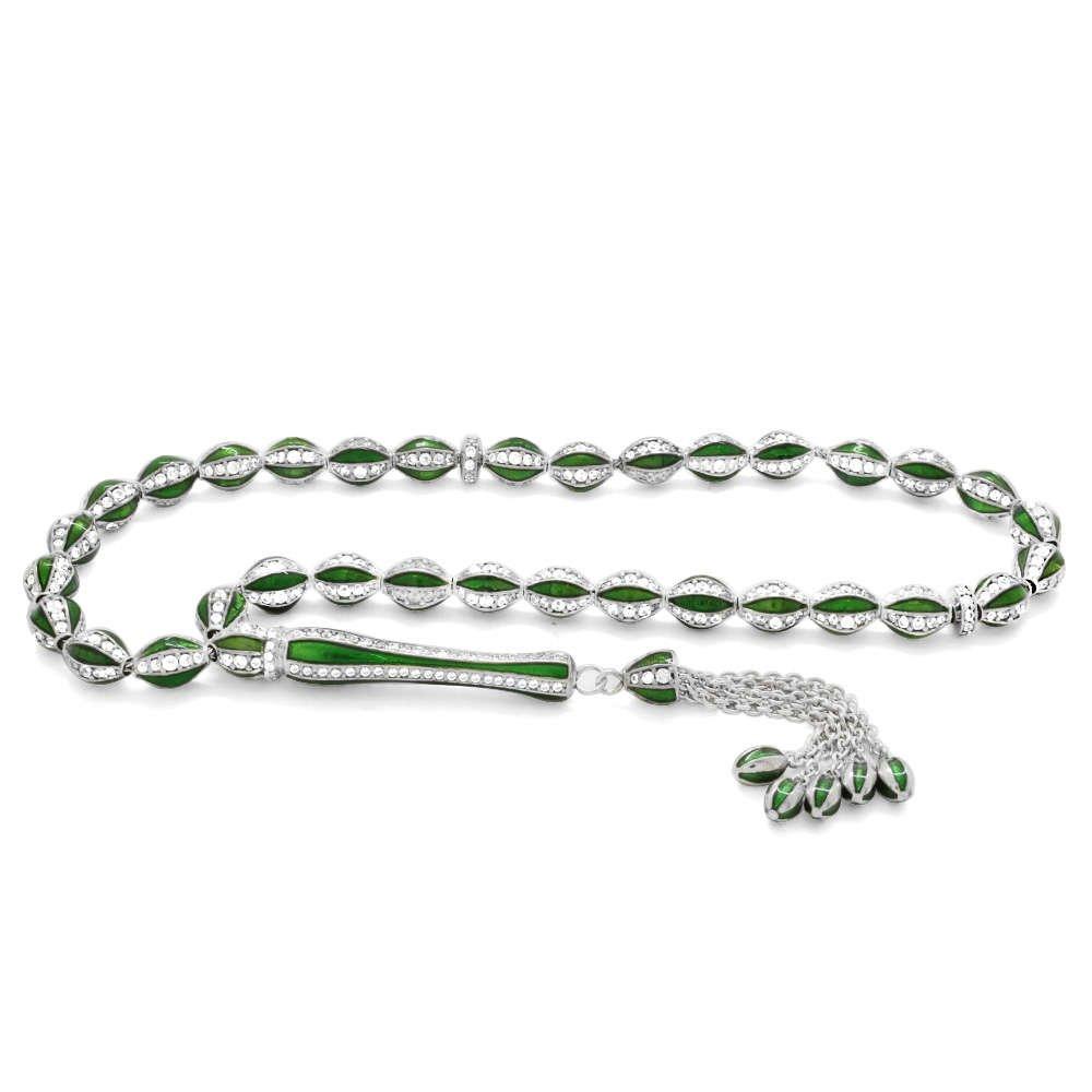Baklava Deseni Tasarım Zirkon Taşlı Yeşil Mineli Arpa Kesim 925 Ayar Gümüş Tesbih