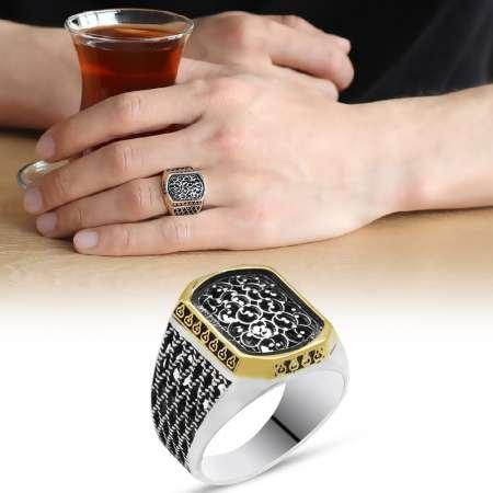 Baklava tasarım 925 Ayar Gümüş Erkek Yüzük - Thumbnail