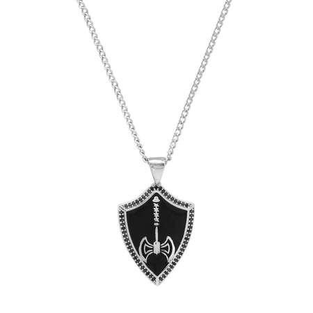 Balta Tasarım Gümüş Renk Zincir Pirinç Bay Kolye - Thumbnail