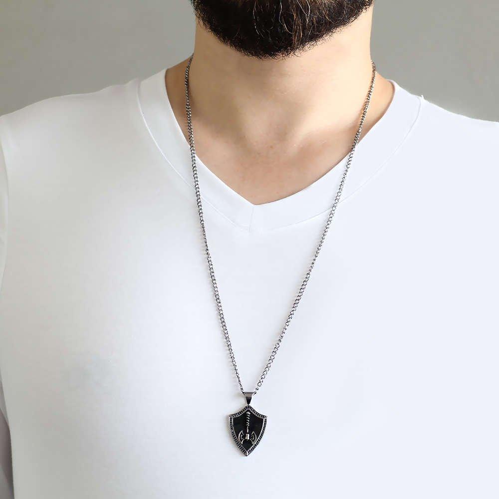 Balta Tasarım Siyah Renk Zincir Pirinç Bay Kolye