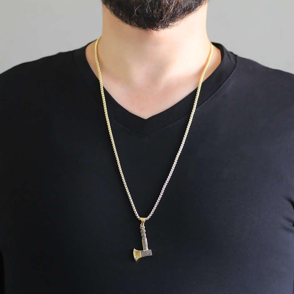 Balta Tasarım Siyah Zirkon Taşlı Gold Renk Zincir Pirinç Kolye