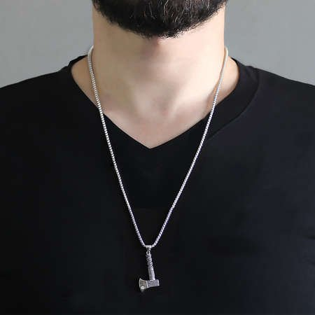 Balta Tasarım Siyah Zirkon Taşlı Gümüş Renk Zincir Pirinç Kolye - Thumbnail