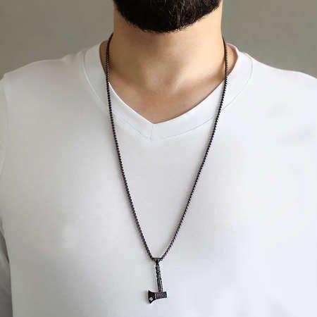 Balta Tasarım Siyah Zirkon Taşlı Siyah Renk Zincir Pirinç Kolye - Thumbnail
