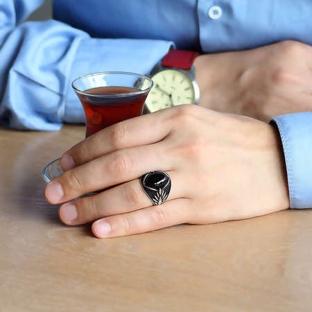 Başak Motifli Siyah Oniks Taşlı 925 Ayar Gümüş Erkek Yüzük - Thumbnail