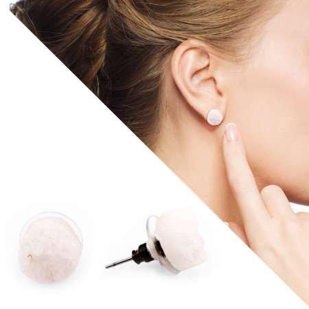 Beyaz Kristal Mineral Doğaltaş Küpe - Thumbnail