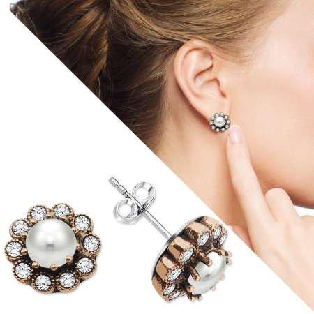 Beyaz Zirkon Taşlı Çiçek Tasarım 925 Ayar Gümüş İnci Küpe - Thumbnail