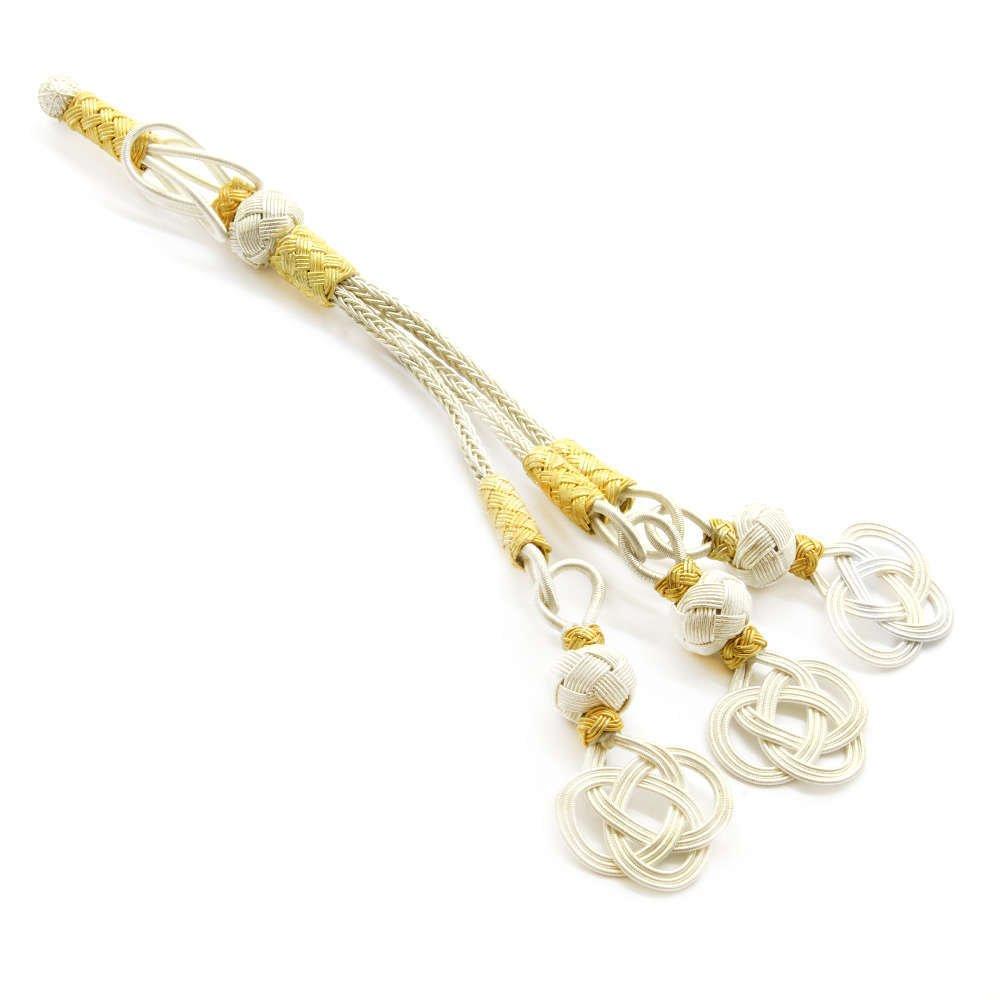 Beyaz-Sarı Renk 3'lü 1000 Ayar Gümüş Kazaz Püskül