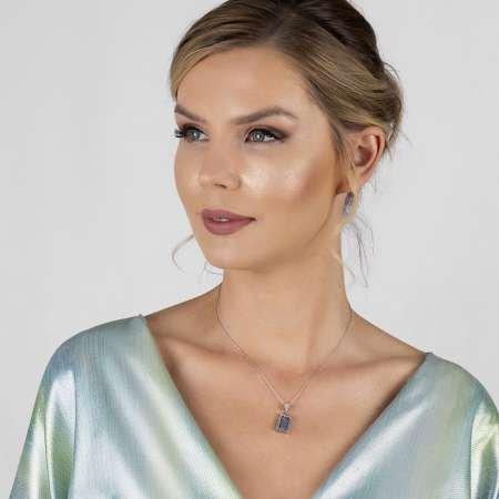 Beyaz Zirkon Taşlı 925 Ayar Gümüş Cevşen-i Kebir Kolye - Thumbnail